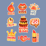 Cute cartoon set of stickers with short positive messages. Colorful cartoon detailed Illustrations Stock Image