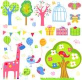 Cute cartoon set - tree, birds, flowers, butterflies etc. Stock Image