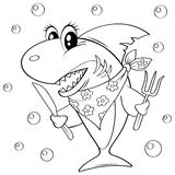 Cute cartoon shark with fork and knife. Black and white vector illustration for coloring book stock illustration