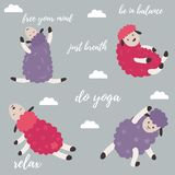 Cute cartoon sheep doing some yoga exercises Royalty Free Stock Images