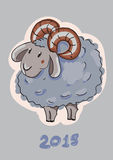 Cute cartoon sheep. Merry Christmas and Happy New Year Card. Vector illustration Stock Illustration