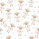 Cute cartoon sheep seamless texture. Children's background fabric. Vector illustration Royalty Free Stock Image