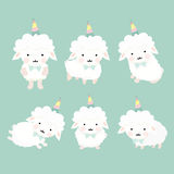 Cute cartoon sheep set. Royalty Free Stock Images