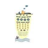 Cute cartoon ship Stock Image