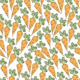 Simple cartoon repeating seamless vector cute pattern with color healthy carrot. hand drawing royalty free illustration