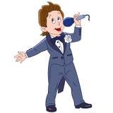 Cute cartoon singer boy Stock Image