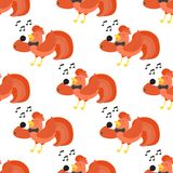 Cute cartoon singing rooster vector illustration chicken farm animal agriculture domestic character seamless pattern Royalty Free Stock Images