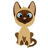 Cute cartoon sitting kitten with blue eyes Stock Photos