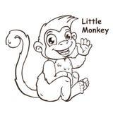 Cute cartoon sitting little monkey Stock Photography