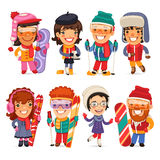 Cute Cartoon Skiers, Skaters and Snowboarders Royalty Free Stock Images