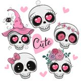 Cute Cartoon Skulls With Flowers And Hearts Stock Images