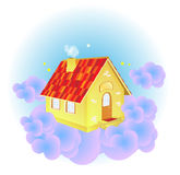 A cute cartoon sky house Stock Photos