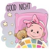 Cute Cartoon Sleeping Baby Girl Stock Photo