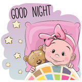Cute Cartoon Sleeping Baby Girl. With teddy bear in a bed Stock Photo