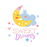 Cute cartoon sleeping crescent and cloud. Sweet dreams colorful hand drawn vector Illustration Royalty Free Stock Photography