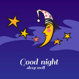 Cute cartoon sleeping moon and stars Royalty Free Stock Image