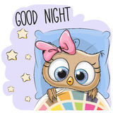 Cute Cartoon Sleeping Owl Stock Photography