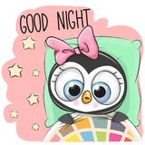 Cute Cartoon Sleeping Penguin Girl. In a bed Royalty Free Stock Photography
