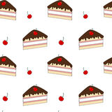 Cute cartoon slice cake with cherry seamless pattern background illustration Royalty Free Stock Images