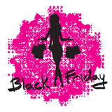 Cute cartoon slim woman silhouette with shopping bags. Royalty Free Stock Photos