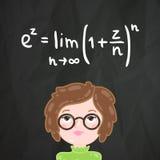 Cute cartoon smart girl and math formula Stock Photo