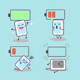 Cute cartoon smartphone with battery Stock Photography
