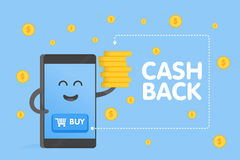 Cute cartoon smartphone characters with buy buttons icon and coins fall rain background. Cashback concept vector Stock Photos