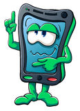 Cute cartoon smartphone shows Royalty Free Stock Photo