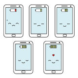 Cute cartoon smartphones battery status set illustration Royalty Free Stock Photography