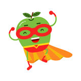 Cute cartoon smiling apple superhero in mask and yellow cape, colorful humanized fruit character Illustration. Isolated on a white background stock illustration