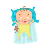 Cute cartoon smiling baby lying in his bed colorful character vector Illustration Stock Images
