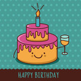 Cute cartoon smiling cake with glass of champagne. Vector illust Stock Image