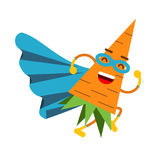 Cute cartoon smiling carrot superhero in mask and blue cape, colorful humanized vegetable character  Illustration Royalty Free Stock Photo