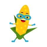 Cute cartoon smiling corncob superhero in mask, colorful humanized vegetable character  Illustration Stock Photo