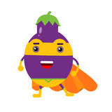 Cute cartoon smiling eggplant superhero in mask and orange cape, colorful humanized vegetable character  Illustration Royalty Free Stock Photos
