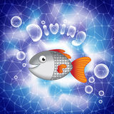 Cute cartoon smiling fish in deep sea waters. Stock Photos