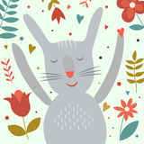 Cute cartoon smiling hare with floral print Royalty Free Stock Photos