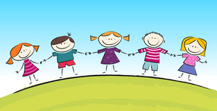 Cute Cartoon with Smiling Kids stock illustration