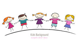 Cute Cartoon with Smiling Kids Royalty Free Stock Photos
