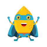 Cute cartoon smiling lemon superhero in mask and blue cape, colorful humanized fruit character  Illustration Royalty Free Stock Photos