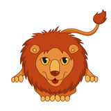 Cute cartoon smiling lion lying with fluffy mane Stock Photography