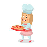 Cute cartoon smiling little girl chef character walking with strawberry pie cake  Illustration Royalty Free Stock Photo