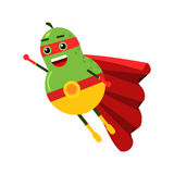 Cute cartoon smiling pear superhero in mask and red cape, colorful humanized fruit character  Illustration Stock Photo