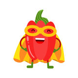 Cute cartoon smiling red pepper superhero in mask and yellow cape, colorful humanized vegetable character  Illustration Stock Photo