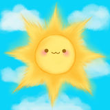 Cute cartoon smiling sun clouds sky kawaii anime manga Royalty Free Stock Photography