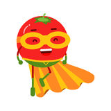 Cute cartoon smiling tomato superhero in mask and yellow cape, colorful humanized vegetable character  Illustration Royalty Free Stock Photography