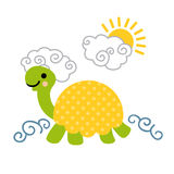 Cute cartoon smiling turtle swimming in the sea. Royalty Free Stock Photos
