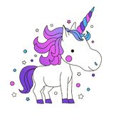 Cute Cartoon Smiling Unicorn on a white background with stars royalty free illustration