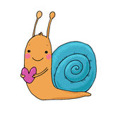 Cute cartoon snail with heart. Royalty Free Stock Photo