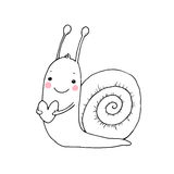 Cute cartoon snail with heart. Stock Photography